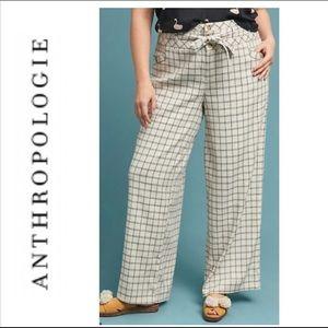 Anthropologie Beige Windowpane Wide Leg Pants
